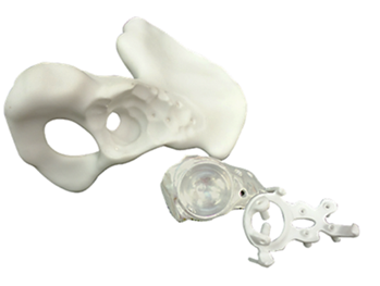 Presurgical planning models: hip bone, implant, surgical guide